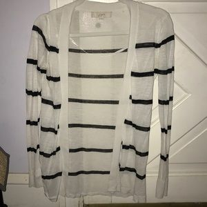 Loft White with Black stripe cardigan